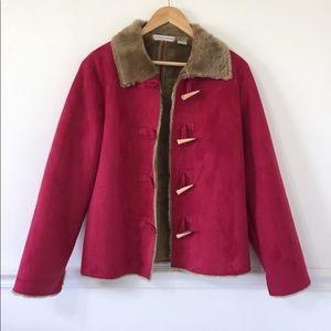 Marisa Christina Pink Faux Suede Fur Lined Jacket